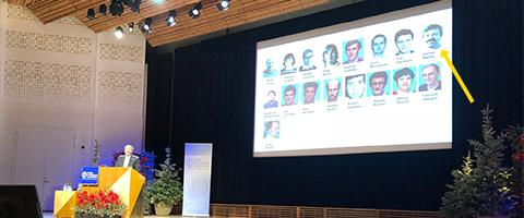 Dr. James Marks pictured on Dr. Greg Winter's slide in his 2018 Nobel Prize in Chemistry Lecture