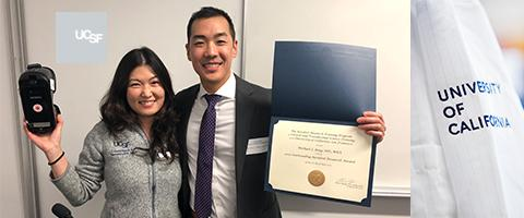 Jina Sinskey, MD, and Michael Jung, MD, MBA with research award