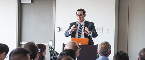 Greg Chinn, MD, PhD, speaking at Anesthesia Research Day in 2016