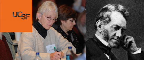 Photo of faculty taking notes at Anesthesia 50th Anniversary Symposium, along with a photo of Edward Dickson and the UCSF orange logobox
