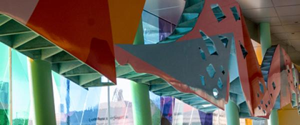 Top of windows in lobby of UCSF Children's Hospital San Francisco