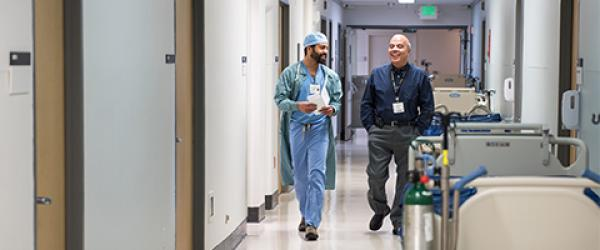 Mario De Pinto and Resident in UCSF Helen Diller Medical Center on Parnassus hallway