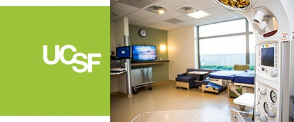 UCSF green logobox and labor and delivery room at Mission Bay