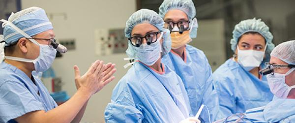 Healthcare providers in the communicating in the operating room