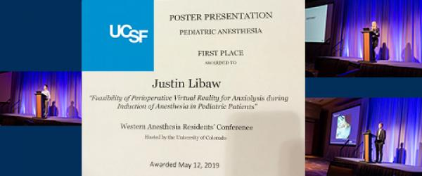 Just Libaw's 1st Place Poster Certificate and photos of UCSF Anesthesia oral presentation speakers