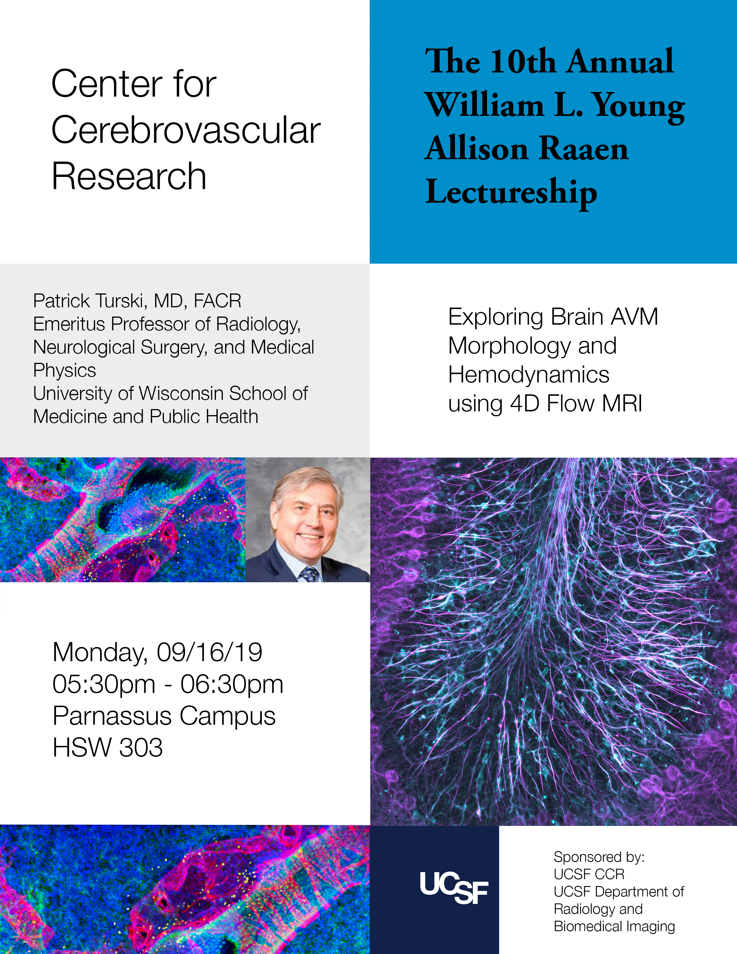 Flyer for September 16, 2019 Center for Cerebrovascular Research Lecture